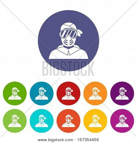 Paintball player wearing protective mask set icons in different colors isolated on white background
