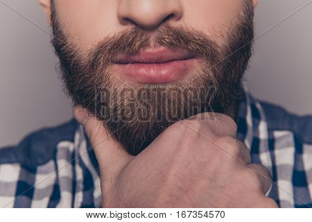Close Up Of Young Minded Bearded Man Touching Chin