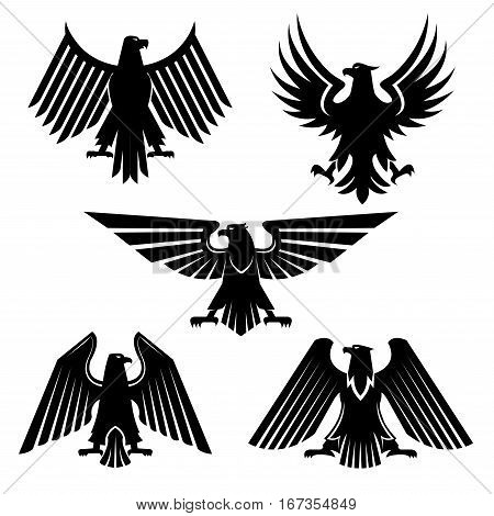 Heraldic eagle or bird of prey set of icons. Silhouette of american falcon or USA hawk, majestic predator or hunter animal. Military or national freedom, heraldry and mascot, tattoo design theme