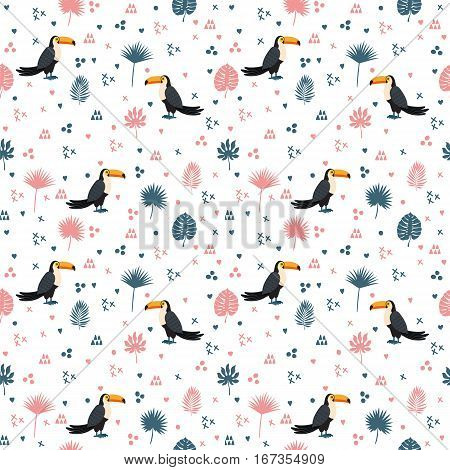 Seamless Pattern With Toucan And Leaves. Cute Background With Decorative Elements For Your Design