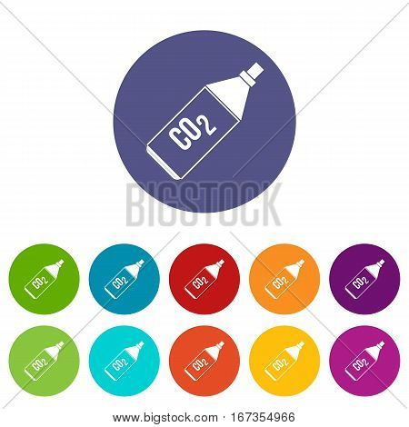CO2 bottle set icons in different colors isolated on white background