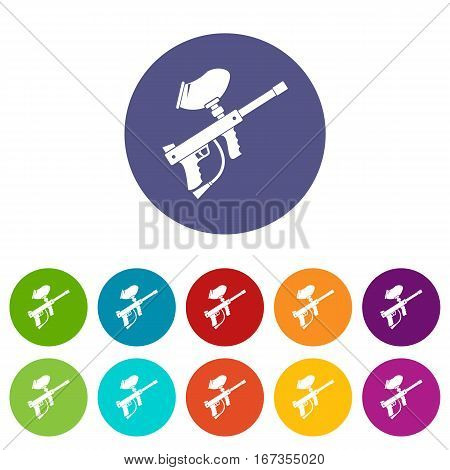 Paintball marker set icons in different colors isolated on white background