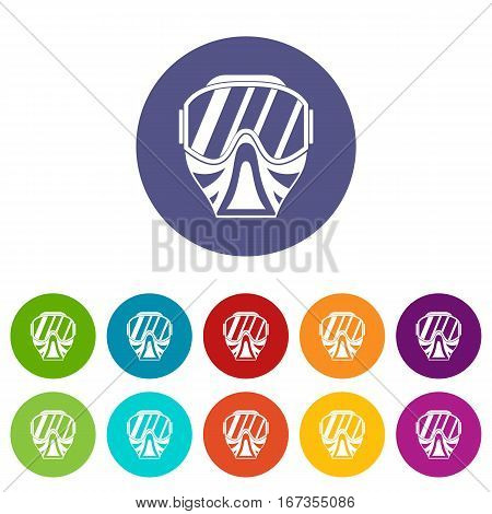 Paintball mask set icons in different colors isolated on white background