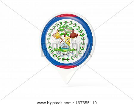 Round White Pin With Flag Of Belize