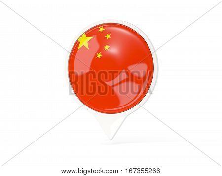 Round White Pin With Flag Of China