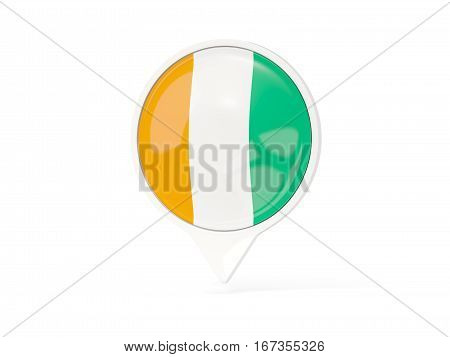 Round White Pin With Flag Of Cote D Ivoire