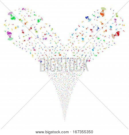 Radio Transmitter fireworks stream. Vector illustration style is flat bright multicolored iconic symbols on a white background. Object double fountain combined from random icons.