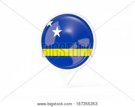 Round White Pin With Flag Of Curacao
