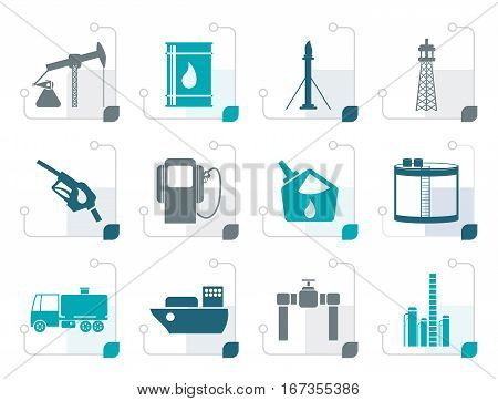 Stylized Oil and petrol industry icons - vector icon set