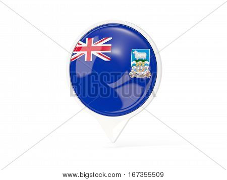 Round White Pin With Flag Of Falkland Islands