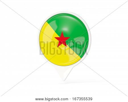 Round White Pin With Flag Of French Guiana