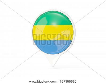 Round White Pin With Flag Of Gabon