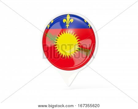 Round White Pin With Flag Of Guadeloupe