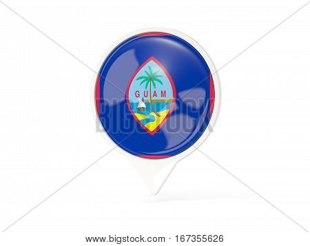 Round White Pin With Flag Of Guam