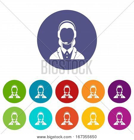 Support phone operator in headset set icons in different colors isolated on white background