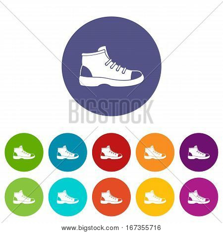 Tourist shoe set icons in different colors isolated on white background
