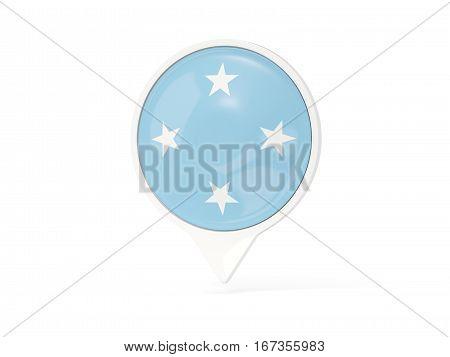 Round White Pin With Flag Of Micronesia