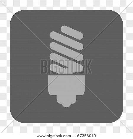 Fluorescent Bulb interface toolbar button. Vector icon style is a flat symbol inside a rounded square button light gray and gray colors chess transparent background.