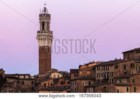 Siena town hall at sunset. Siena Tuscany Italy