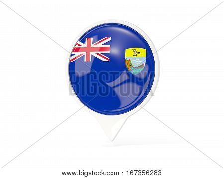 Round White Pin With Flag Of Saint Helena