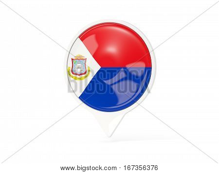 Round White Pin With Flag Of Sint Maarten