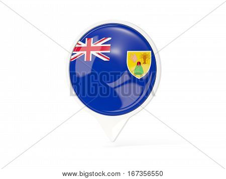 Round White Pin With Flag Of Turks And Caicos Islands