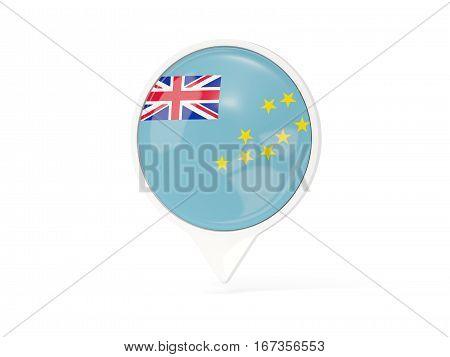 Round White Pin With Flag Of Tuvalu
