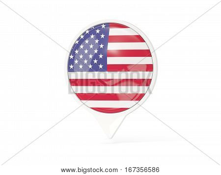 Round White Pin With Flag Of United States Of America