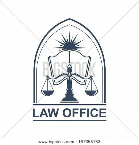 Juridical or legal icon with scale or weigher and opened book with star or sun light behind. Justitia or lady justice logo for law office or prosecutor sign. Arbitrate or verdict, punishment and attorney theme