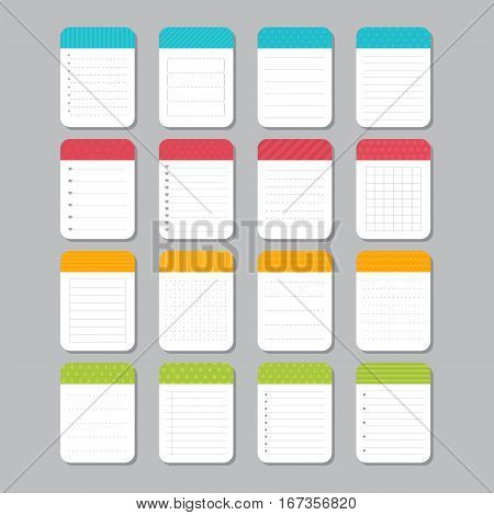 Sheets Of Paper. Collection Of Various Note Papers. Template Notepad Design