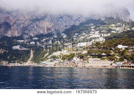 Panorama of Capri Island. Capri Campania Italy.