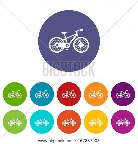 Bicycle set icons in different colors isolated on white background