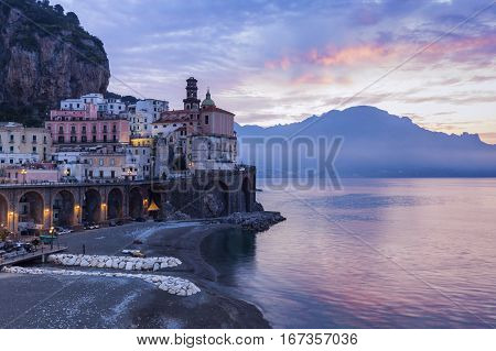 Architecture of Atrani at sunrise. Atrani Campania Italy.