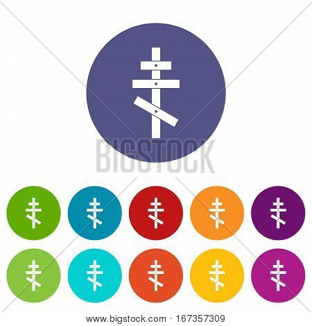 Orthodox cross set icons in different colors isolated on white background