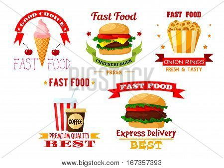 Fast or unhealthy food set of icons. Hamburger with beef and cheeseburger, ice cream in waffle cone and cherry, onion rings and cup of coffee, soda beverage. Shop or restaurant, bistro and cafe, american junk and greasy food theme
