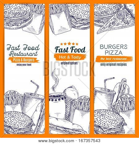 Sketched american fast food banner. Hamburger or cheeseburger, hot dog with sausage and ketchup, fried french fries and pizza, coffee and soda, ice-cream with scoop ball in waffle cone. Restaurant and shop, food delivery theme