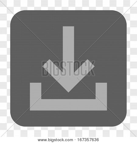 Inbox interface toolbar button. Vector icon style is a flat symbol in a rounded square button light gray and gray colors chess transparent background.