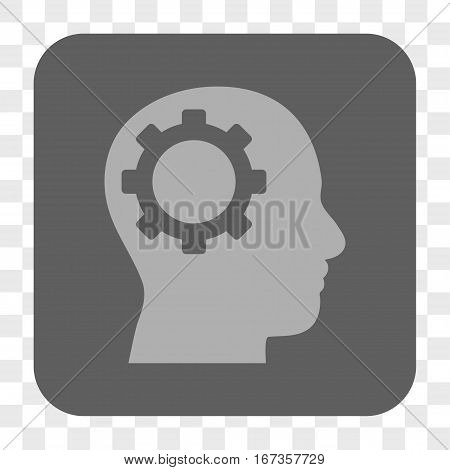Intellect Gear interface toolbar button. Vector icon style is a flat symbol inside a rounded square button light gray and gray colors chess transparent background.