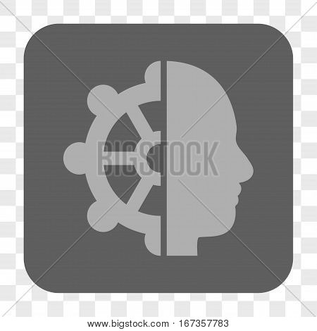 Intellect interface toolbar button. Vector icon style is a flat symbol on a rounded square button light gray and gray colors chess transparent background.