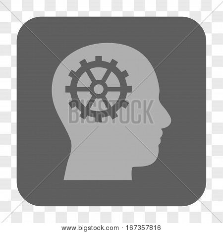 Intellect interface toolbar button. Vector icon style is a flat symbol in a rounded square button light gray and gray colors chess transparent background.