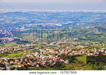 Architecture of San Marino - aerial photo. San Marino.