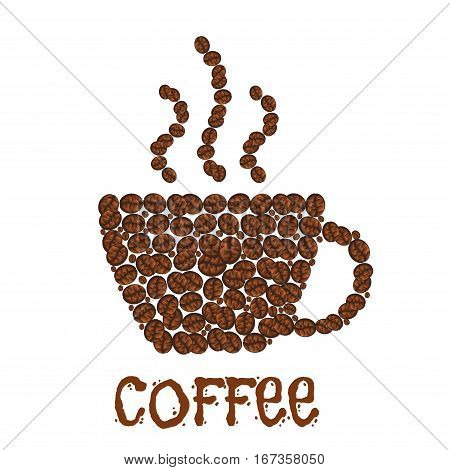 Steaming cup of coffee made of grains. Arabic aroma beverage made of beans, hot caffeine drink consisting of roasted seeds. Cafe or cafeteria, coffeehouse and restaurant menu