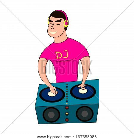 Male Disc Jockey Mixing Songs Using His Turntable. DJ boy