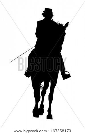 Silhouette of a rider on a horse isolated on white background