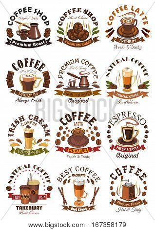Sleeve or cup of hot coffee and beans. Cappuccino and espresso, latte and irish cream, mocha and mochachino, macchiato with chocolate bars and ribbon and cezve, black americano drink. May be used for restaurant or takeaway, shop