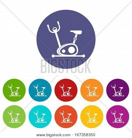 Exercise bike set icons in different colors isolated on white background