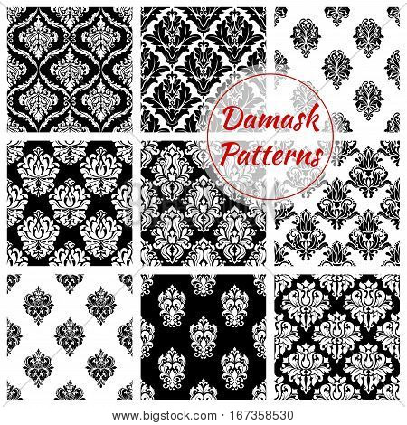 Damask floral vintage seamless pattern background. Flower foliage tile or plant retro ornament, flourish tracery and victorian damasque motif, antique arabic vignette or venetian embellishment. Napery curtain or baroque theme