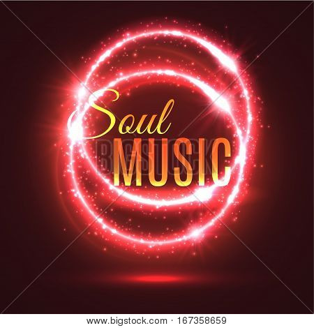 Abstract music background with light effects. Circles of fire or blurry ring as musical backdrop template. Musician or concert, shiny party presentation or musician show, audio entertainment theme