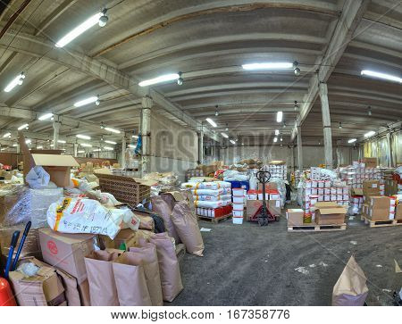 St. Petersburg Russia - December 3 2013: Grocery warehouse in a former factory.