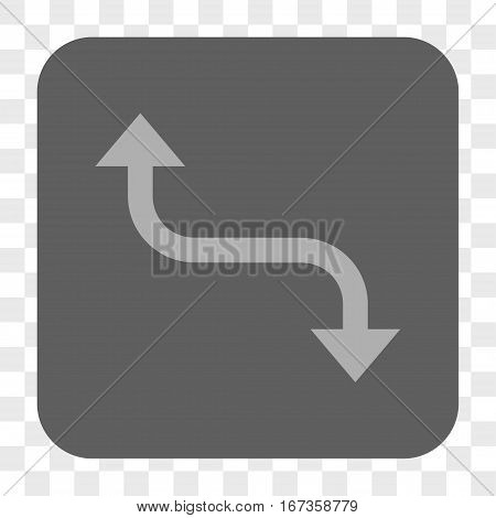 Opposite Bend Arrow interface toolbar button. Vector icon style is a flat symbol in a rounded square button light gray and gray colors chess transparent background.